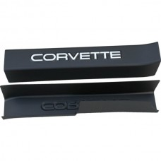 1990-1996 Corvette Black Sill Ease Protectors With White Letters