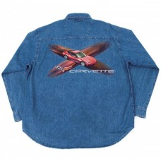 Corvette C6 Denim Shirt, Long Sleeve, With C6 Red Coupe Design