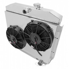 Chevy Champion Aluminum Fan Shroud, For Champion V8 Radiators, With Dual Cooling Fans, 1955-1957
