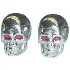 1955-1979 Ford Thunderbird Valve Stem Caps, Chrome Skulls With Glowing Red Eyes, 1 Pair