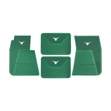 1958-1960 Ford Thunderbird Rubber Floor Mats, 4 Piece Set, Front and Rear, Dark AquaWith White Bird