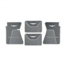 1961-1963 Ford Thunderbird Rubber Floor Mats, 4 Piece Set, Front & Rear, Black With White T-Bird