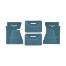 1961-1963 Ford Thunderbird Rubber Floor Mats, 4 Piece Set, Front & Rear, Blue With White T-Bird
