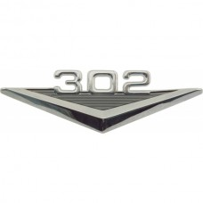 1955-1979 Ford Thunderbird Custom Fender Emblem, 302, Mimics Original 289 V-Shaped Emblem, Black-and-Chrome
