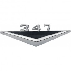 1955-1979 Ford Thunderbird Custom Fender Emblem, 347, Mimics Original 289 V-Shaped Emblem, Black-and-Chrome