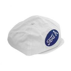 1955-1966 Ford Thunderbird Driving Cap, Gatsby Style, White, With Ford A Patch
