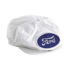 1955-1966 Ford Thunderbird Driving Cap, Gatsby Style, White, With Ford Script Patch