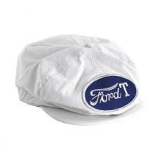 1955-1966 Ford Thunderbird Driving Cap, Gatsby Style, White, With Ford T Patch