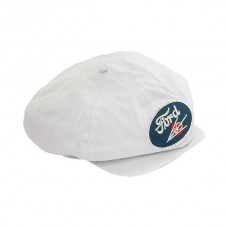 1955-1966 Ford Thunderbird Driving Cap, Gatsby Style, White, With Ford V8 Emblem Patch