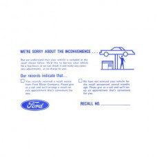 Ford Mustang Ford Product Recall Postcard