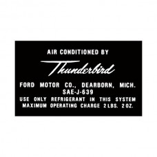 Ford Thunderbird Air Conditioning Aluminum Tag Decal, 1964-66