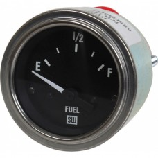Electric Fuel Level Gauge - Black Face With White Lettering- Stainless Steel Trim Ring - 2-1/16 OD - 12 Volt