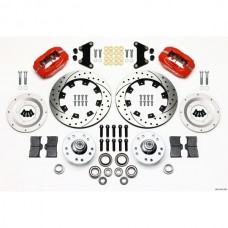 1949-1954  Wilwood Forged Dynalite Big Brake Front Brake Kit, Drilled & Slotted Rotors, Red Calipers
