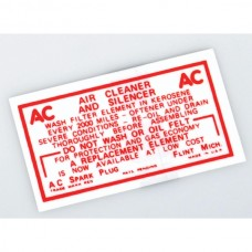 1949-1954 Chevy Air Cleaner Decal, Non-Oil Bath, 6-Cylinder