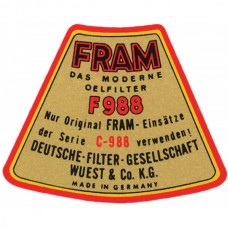 1955-1969 Porsche® Fram F988 Oil Filter Decal